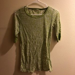 Three quarters length green velvet brand top